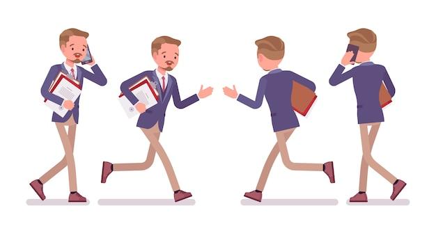 Mannelijke kantoor lopende pose in plat ontwerp