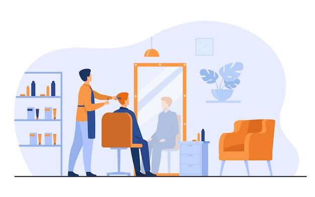 Mannelijke kappers schoonheidssalon interieur geïsoleerd platte vectorillustratie. cartoon stylist of schoonheidsspecialiste knippen haar van de klant in de kapsalon. uiterlijk en schoonheidsconcept