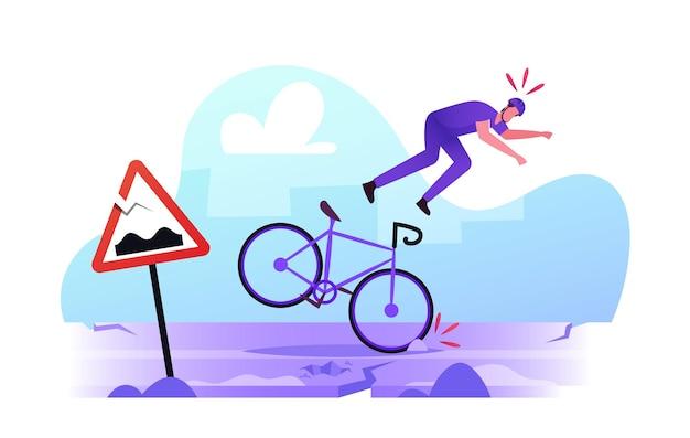 Mannelijke karakter fietser struikelt en valt van fiets op kapotte berm met gebarsten asfalt