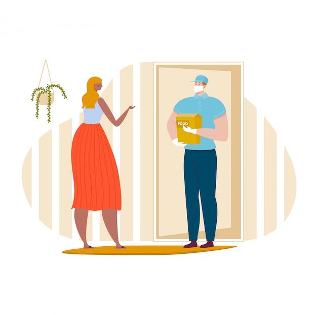 Mannelijke karakter in medische masker levering pakket maaltijd, vrouwelijke online bestelling eetbaar diner geïsoleerd op wit, cartoon illustratie.
