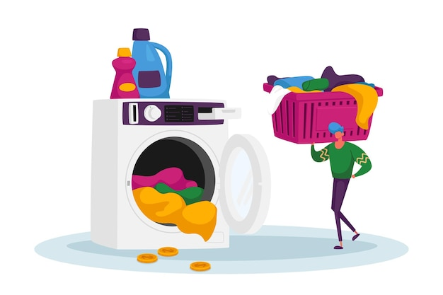 Mannelijke karakter in openbare wasserette put munt