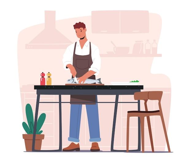 Mannelijke karakter koken zeevruchten. jonge man in chef-kok schort snijden grote vis in huis keuken bereiden maaltijd voor familiediner genieten van proces van koken voedsel, binnenlandse levensstijl. cartoon vectorillustratie