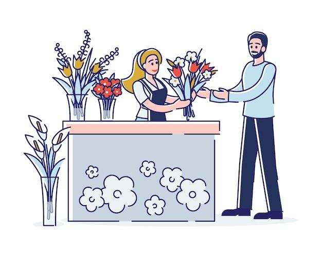 Mannelijke karakter koopt het boeket van mooie bloemen bij bloemist