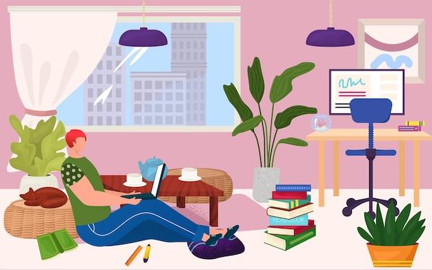 Mannelijke karakter professionele specialist programmeur freelancer werk thuis, man online externe werknemer banner platte vectorillustratie. concept comfortabele zelfgemaakte kantoorontwerper.