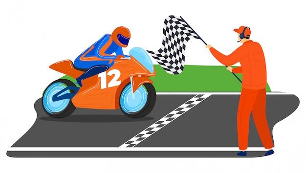 Mannelijke karakter rijden sportbike, wereldtoernooien moto competitie man eerste plaats finishlijn geïsoleerd op wit, cartoon illustratie.