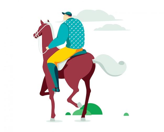 Mannelijke karakter ruiter, persoon hobby ruiter sport paardenrennen geïsoleerd op wit