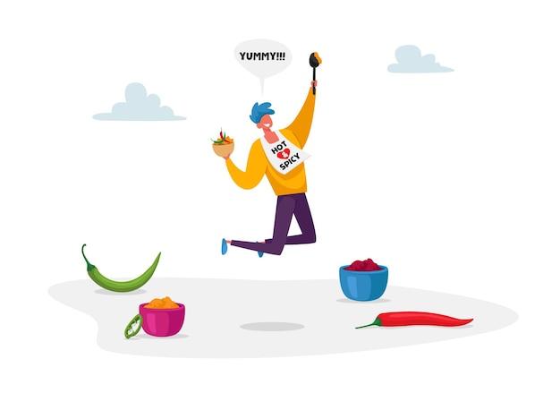 Mannelijke karakter springen met kom warme kruiden voedsel en lepel in de hand
