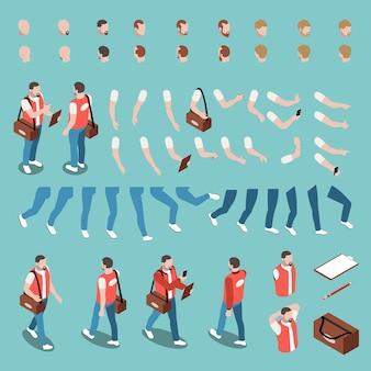 Mannelijke karakterconstructor set met verschillende kapsels, lichaamsgebaren en accessoires voor werk geïsoleerd op blauwe 3d isometrisch