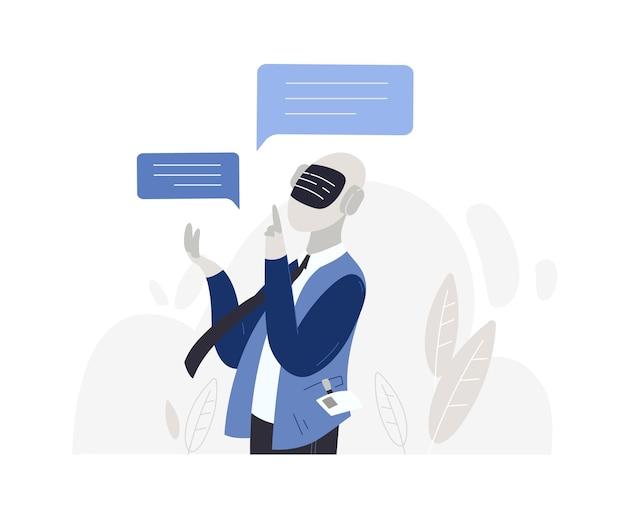 Mannelijke karakterrobot met kunstmatige intelligentie die op wit wordt geïsoleerd