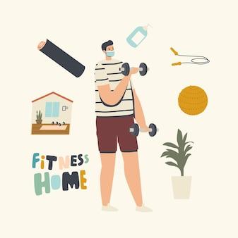 Mannelijke karaktertraining met halters thuis tijdens covid-quarantaine