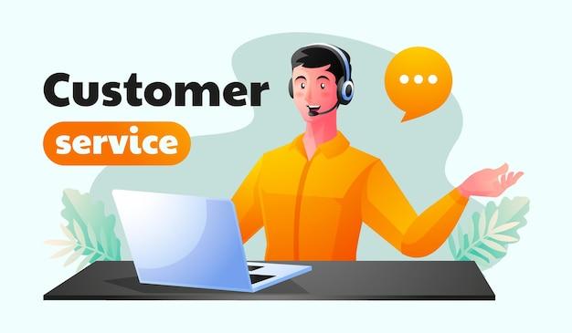 Mannelijke klantenondersteuning die op kantoor werkt en vragen van consumenten beantwoordt