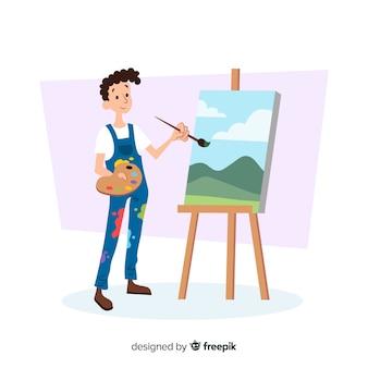 Mannelijke kunstenaar die zijn werk doet