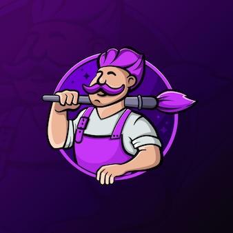 Mannelijke kunstenaar schilder mascotte logo