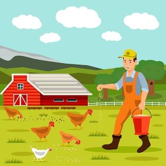 Mannelijke landbouwer die kippen vectorillustratie voedt