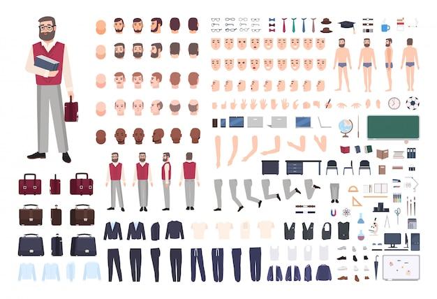 Mannelijke leraar constructeur of bouwpakket. inzameling van lichaamsdelen van leraar, handgebaren, kleding die op witte achtergrond wordt geïsoleerd. voor-, zij- en achteraanzicht. cartoon illustratie.