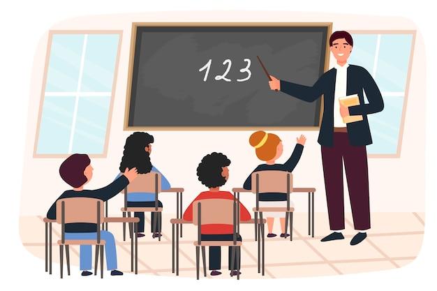 Mannelijke leraar en geleerden, kinderen, jongens en meisjes. klas. vector illustratie concept voor school. eigentijdse stijl. leuk karakter.