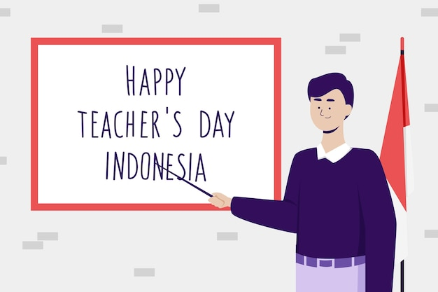 Mannelijke leraar karakter. het vieren van teacher's day indonesië