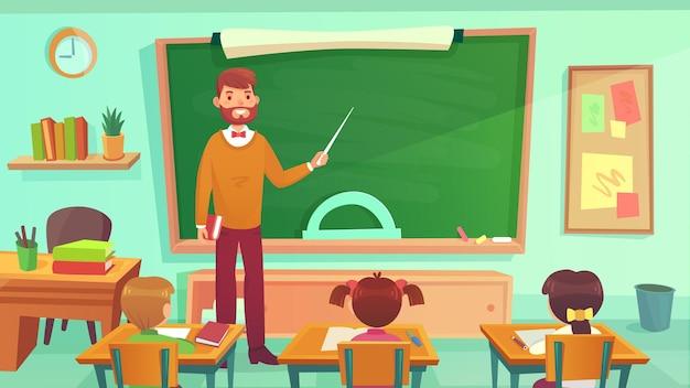 Mannelijke leraar leert studenten in de klas van de basisschool
