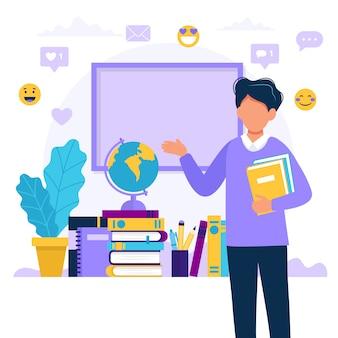 Mannelijke leraar met boeken en schoolbord.