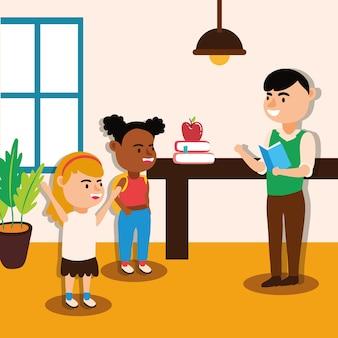 Mannelijke leraar werknemer met studenten kinderen tekens vector illustratie ontwerp