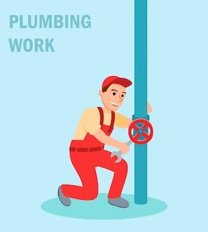 Mannelijke loodgieter met moersleutel reparatieklep