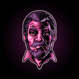 Mannelijke man illustratie mascotte logo