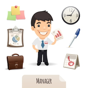Mannelijke manager icons set