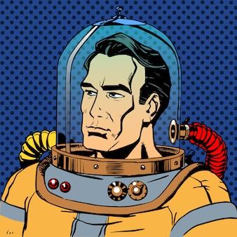 Mannelijke manastronaut in een ruimtepak