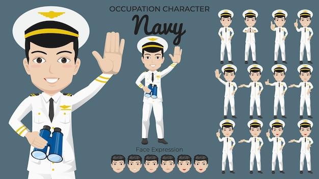 Mannelijke marine-tekenset met een verscheidenheid aan houding en gezichtsuitdrukking