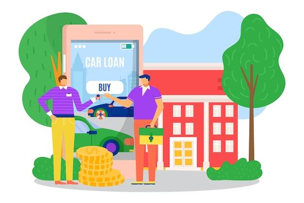 Mannelijke mensen karakter nemen auto lening financiering bank bedrijf online krediet smartphone applicatio...