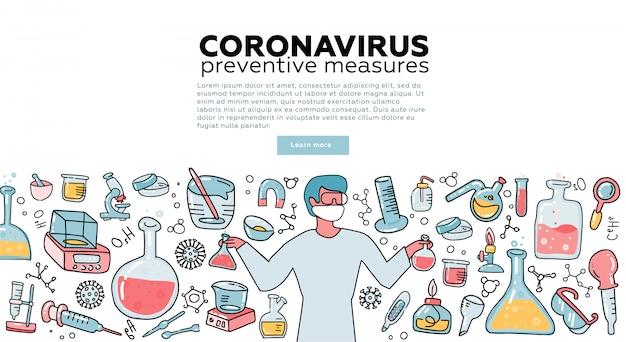 Mannelijke microbioloog wetenschapper onderzoek coronavirus cov in het laboratorium omgeven door virussen, wetenschappelijke medische apparatuur. bewustzijnscampagne. tempalte voor bestemmingspagina. vlakke afbeelding.