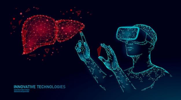 Mannelijke moderne arts bedienen menselijke lever. laserbediening bij virtual reality. 3d vr headset augmented reality bril geneeskunde online digitaal