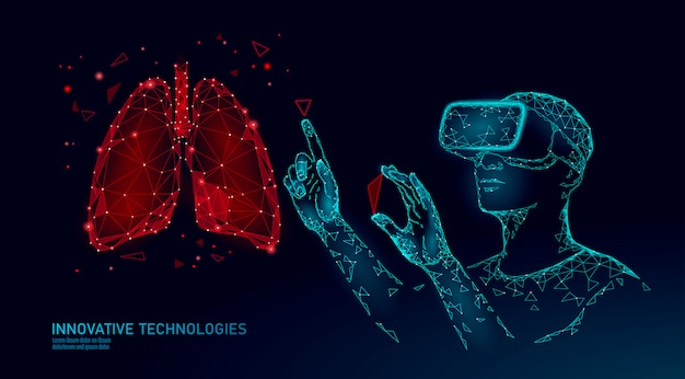 Mannelijke moderne arts opereert menselijke longkanker. laserbediening bij virtual reality. 3d vr headset augmented reality bril geneeskunde online digitaal
