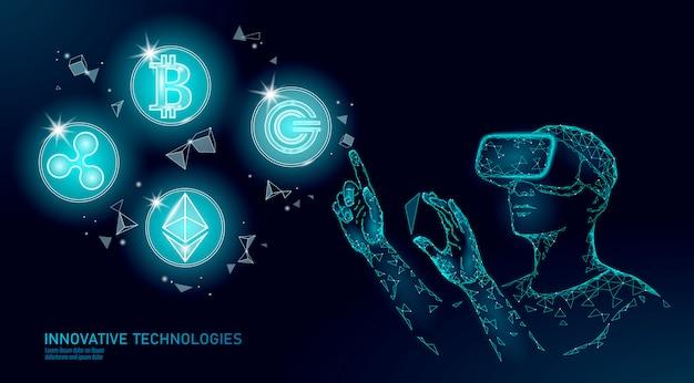 Mannelijke moderne handelaar beheert blockchain-systeem. beheer van gegevens van virtual reality-assistentie.