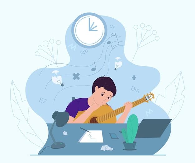 Mannelijke muzikant ervaart creatieve crisis, vectorillustratie. angst, vermoeidheid, hoofdpijn, stress, depressie, burn-out