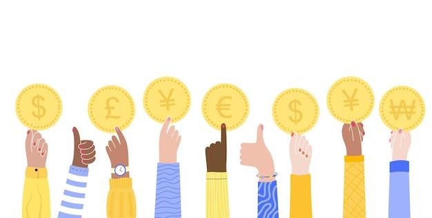 Mannelijke of vrouwelijke multiculturele handen houden munten van internationale valuta vast