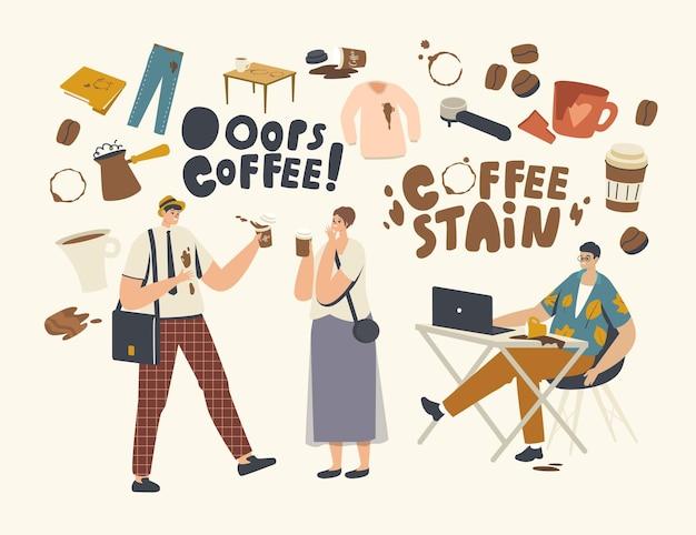 Mannelijke of vrouwelijke personages morsen koffie op hun kleding en laptop waardoor er vlekken ontstaan. onhandigheid, ongeval op straat of op kantoor. zakenman in de problemen met drankje splash. cartoon mensen vectorillustratie