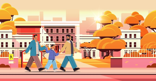Mannelijke ouders wandelen met zoontje homo familie transgender liefde lgbt gemeenschap concept zonsondergang stadsgezicht achtergrond volledige lengte horizontale vectorillustratie