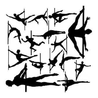 Mannelijke paaldanseres silhouetten.