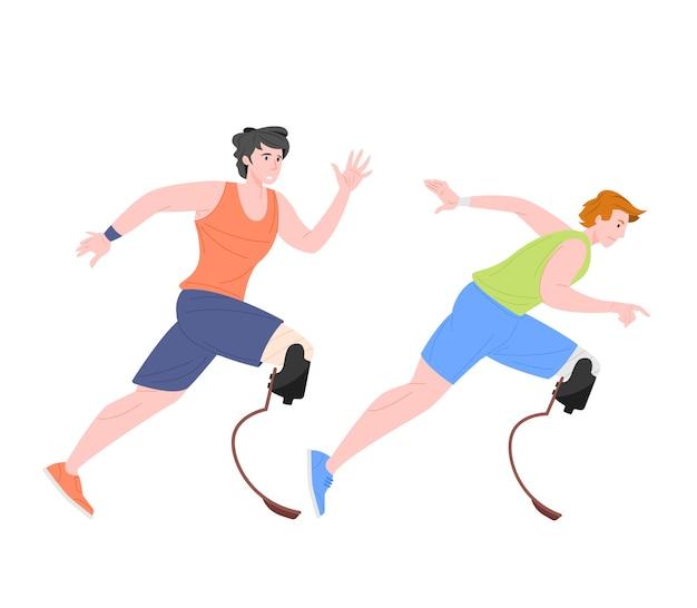 Mannelijke paralympische atleten met hightech prothetische ledematen rennen