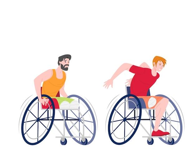 Mannelijke paralympische atleten op rolstoelen lopen geïsoleerd op een witte achtergrond