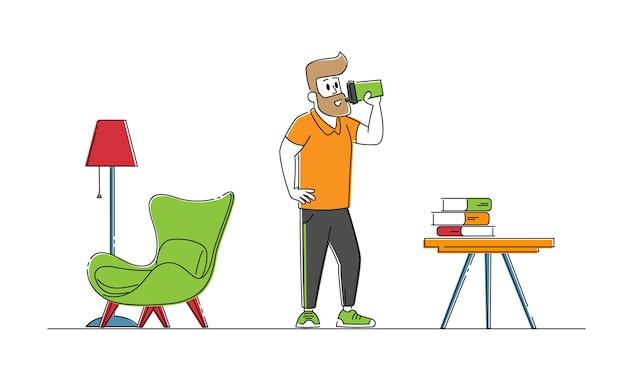 Mannelijke personage in sportkleding vers water drinken in de woonkamer na sport training