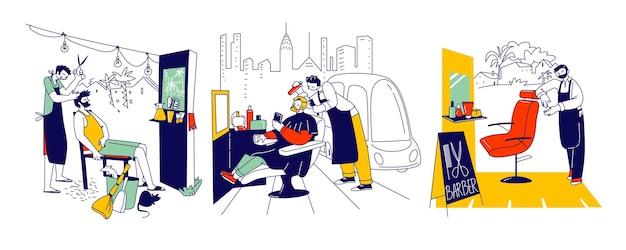 Mannelijke personages bij street barber, beauty service stylist in schort met kapselhulpmiddelen knippen cliënthaar of baard in buitenkapperszaak, mensen in gentlemanly haircutting salon. lineaire vectorillustratie
