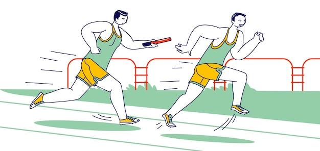 Mannelijke personages lopen estafette op stadion. sporters overwinnen afstand in raw met een stok.