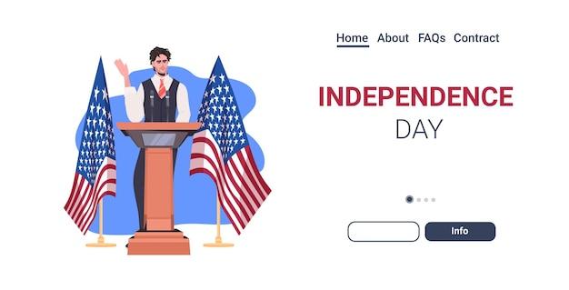 Mannelijke politicus die toespraak houdt vanaf de tribune met de vlag van de vs, 4 juli, de landingspagina van de viering van de amerikaanse onafhankelijkheidsdag