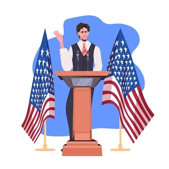 Mannelijke politicus die toespraak houdt vanaf de tribune met de vlag van de vs, 4 juli, de viering van de amerikaanse onafhankelijkheidsdag