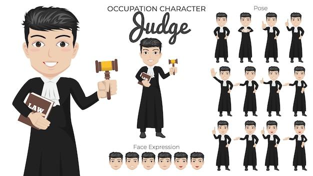 Mannelijke rechter-tekenset met een verscheidenheid aan houding en gezichtsuitdrukking
