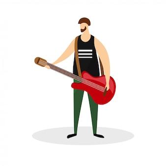 Mannelijke rockmuzikant karakter, gitarist, virtuoos.