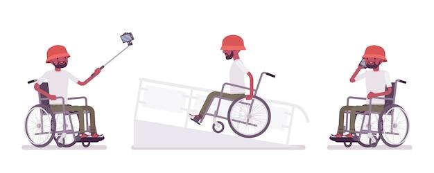 Mannelijke rolstoel met telefoon