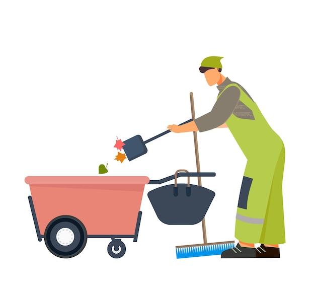 Mannelijke schoner die straten schoonmaakt met apparatuur plat